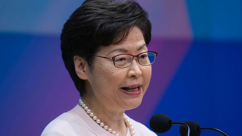 2021 年 9 月 14 日,香港行政长官林郑月娥于在新闻发布会上发表讲话。(美联社)
