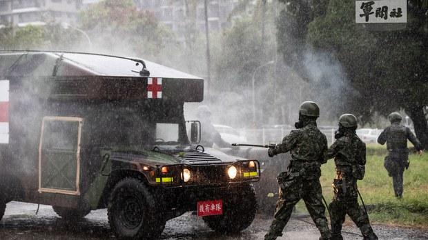 台湾汉光演习登场  演习前夕衡山指挥所爆火警