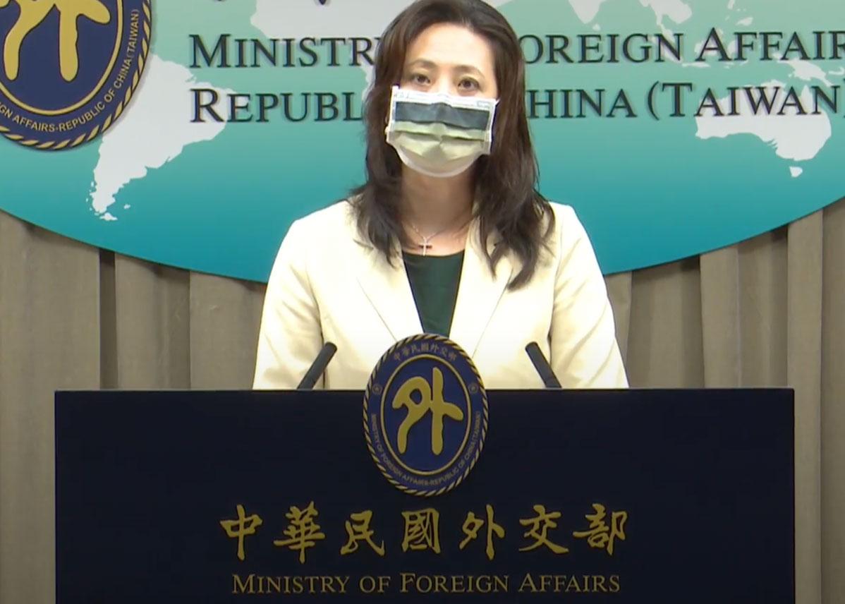台湾外交部发言人欧江安14日主持例行记者会。(图源:台湾外交部提供)