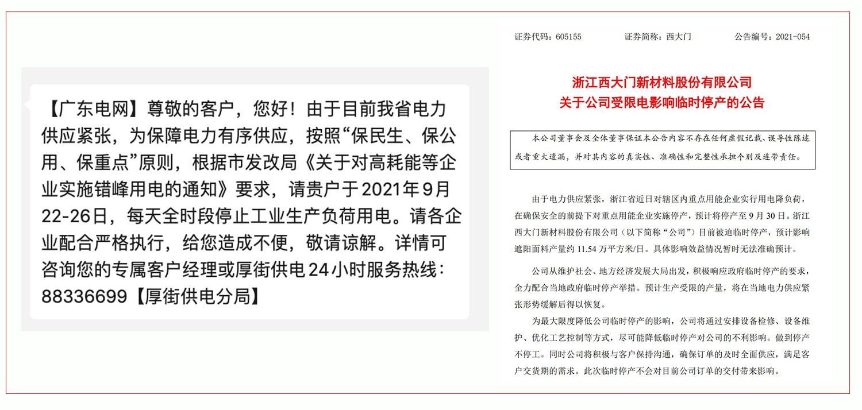 左图:广东东莞通知停电一周。 右图:浙江一公司自9月30日起停产。(乔龙提供)
