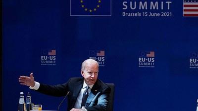 美国总统拜登2021年6月15日在比利时布鲁塞尔参加美国欧盟峰会