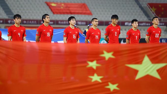 在2021年10月13日举行的世界杯预赛中失利的中国男足(路透社图片)