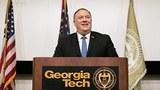 """2020年12月9日上午,美国国务卿蓬佩奥到乔治亚理工大学就""""中共对美国国家安全和学术自由的挑战""""发表演讲。(Jessica McGowan/Getty Images)"""