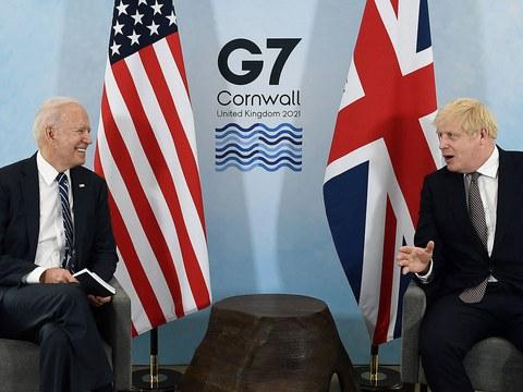 美国总统拜登出访欧洲,和英国首相鲍里斯·约翰逊见面。