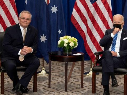 """美国总统拜登盛赞美澳两国日益紧密的联盟关系,拜登告诉澳大利亚总理莫里森:""""美国没有比澳大利亚更紧密、更可靠的盟邦。"""""""