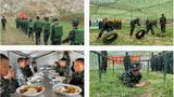 西藏林芝的一些学生在参加军训。