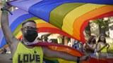 手举彩虹旗的游行民众